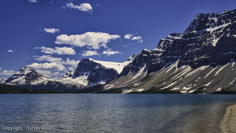 Bow Lake fed by adjoining glaciers, Banff, NP