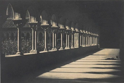The cloister of Moissac, calotype by either Le Gray, orMestral