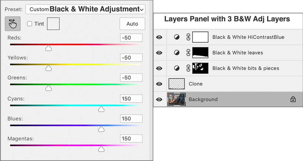 B&W Adjustment Panel           Multiple B&W Layers