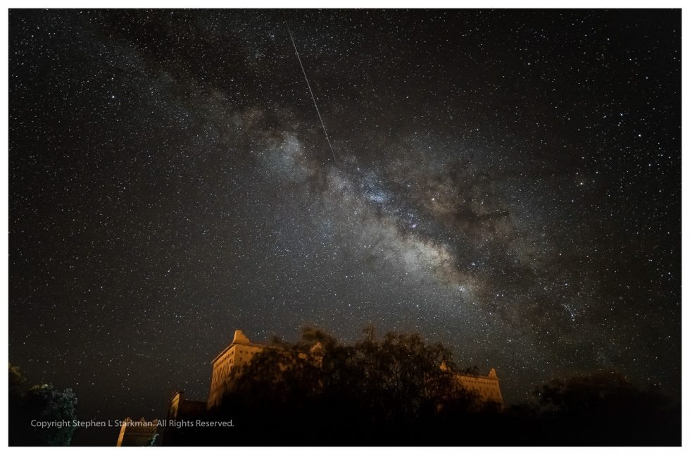 Milky Way and meteor in the Sahara
