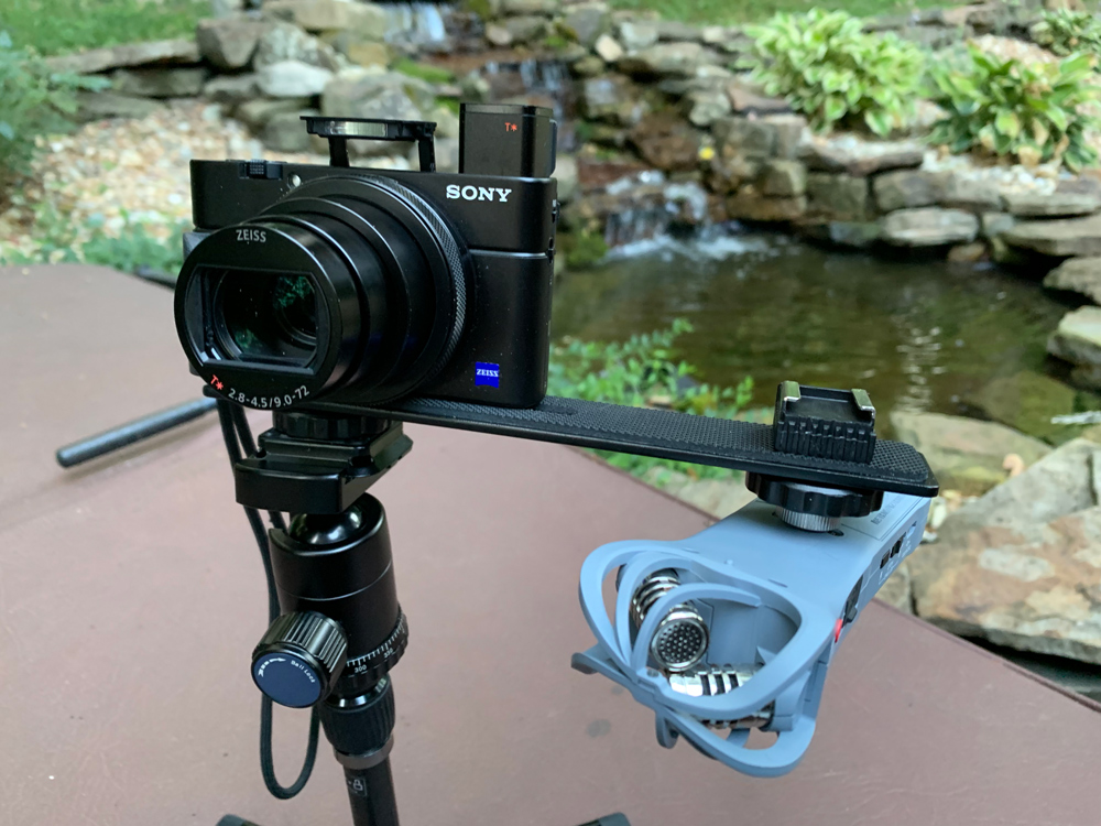 Sony RX100vi with the audio rig attached