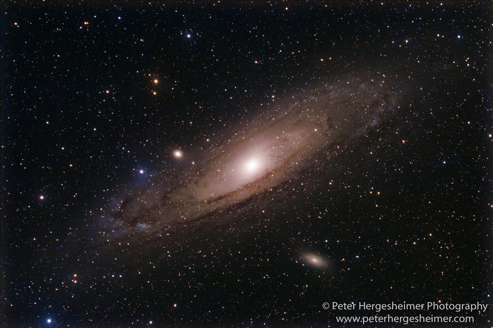 Andromeda galaxy through an 80mm refractor telescope