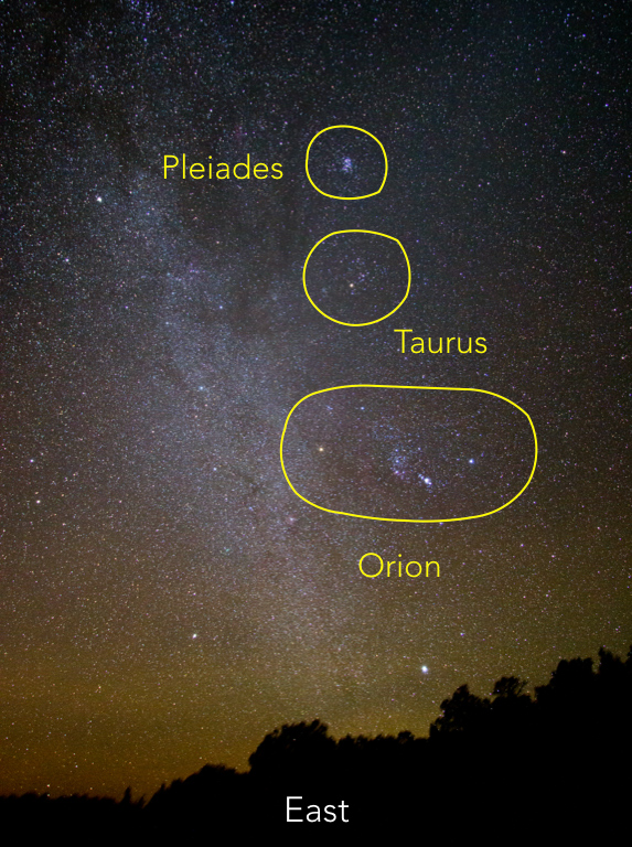 Wide angle shot of the sky, looking East with common constellations identified