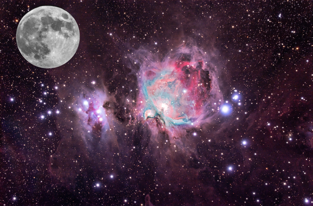 Composite image of the Great Orion Nebula (M42) and the moon for size comparisons