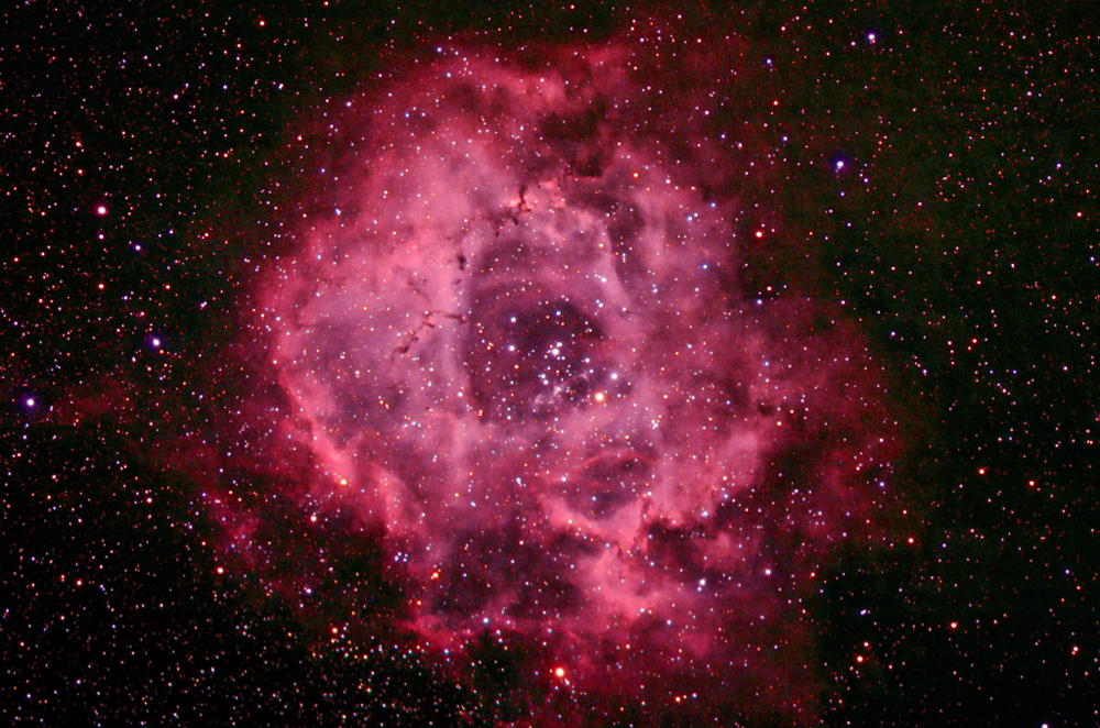 Rosette Nebula through an 80mm refractor telescope