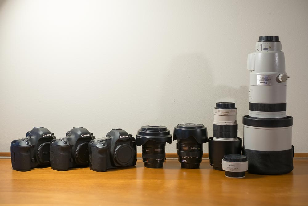 My safari photography kit just 7 years ago. My current Fuji kit with equivalent lenses weighs less than half.