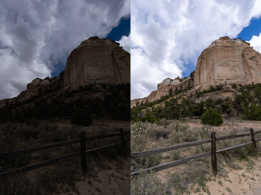 Figure 1: El Malpais image before and after auto-tone.