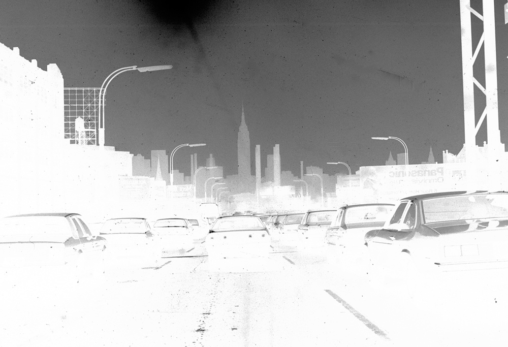 This negative was a grab made in the mid-nineteen seventies as I was caught in the usual jam on the Long Island Expressway (often known as the world's longest parking lot). It's clearly a throwaways but I gave it a try. There are virtually no mid-tone values.