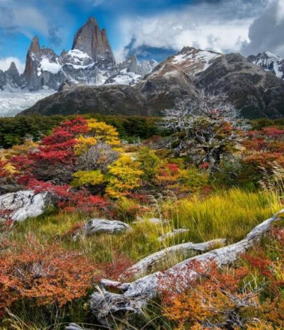 Balancing splashes of bold red with relatively larger areas of neutral browns and greys. Patagonia.