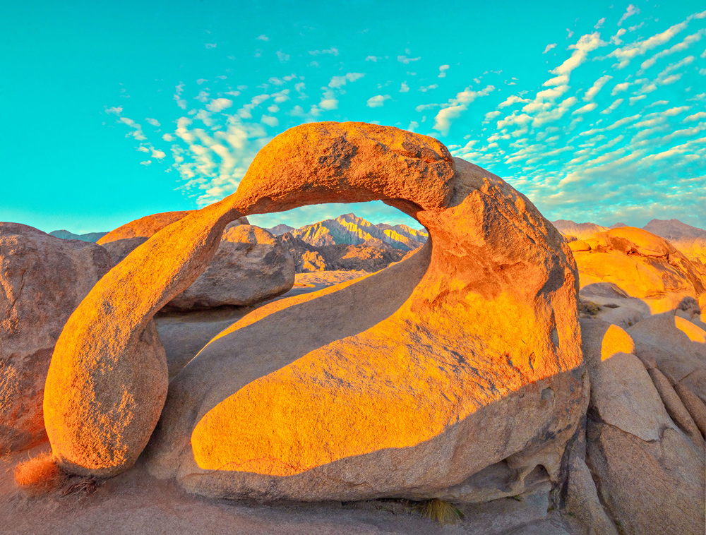 Mobius Arch with a teal sky, Alabama Hills.