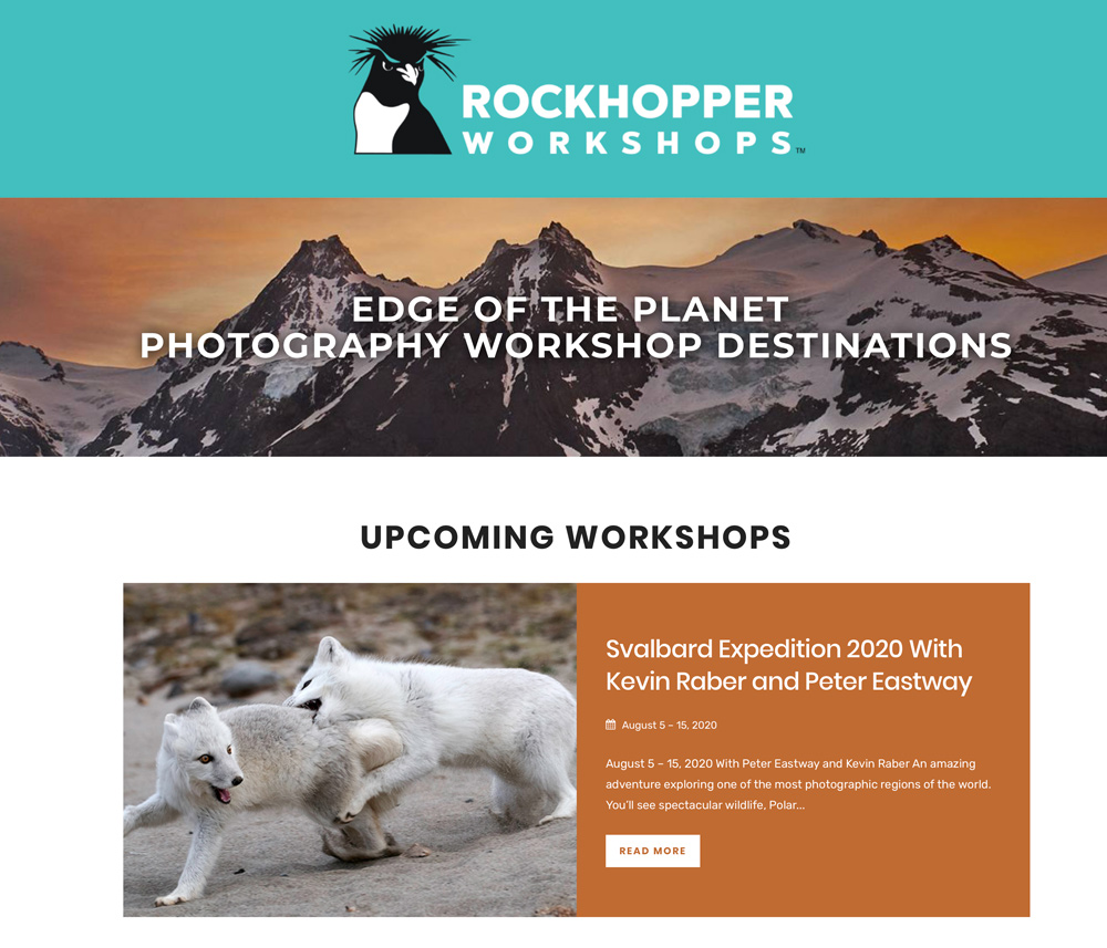 The new home page of Rockhopper Workshops