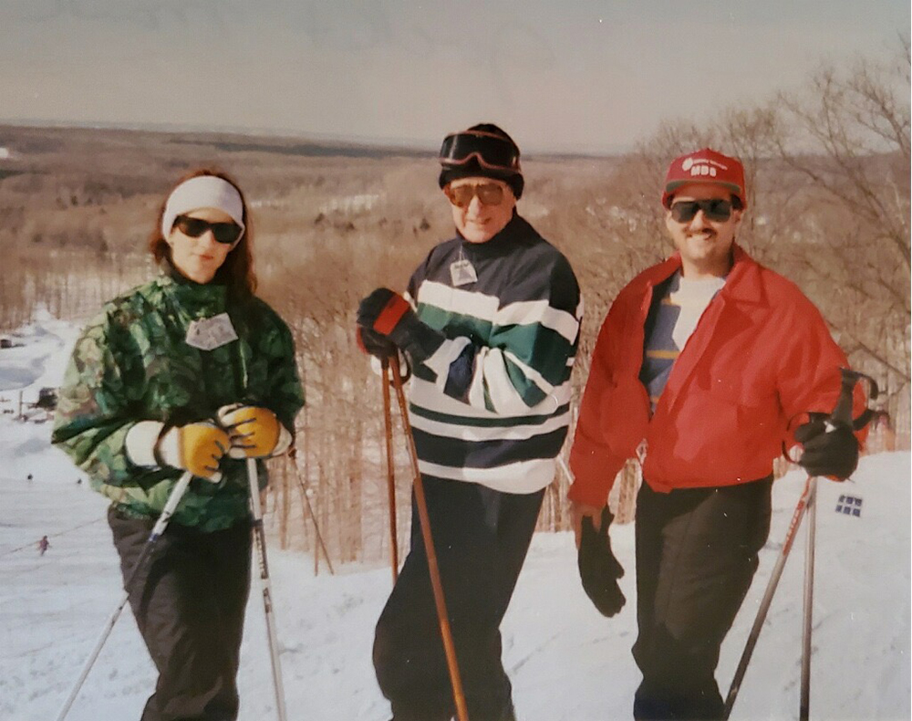 Jack Fadely with Debra fadely and MArk Fadely on a ski vacation