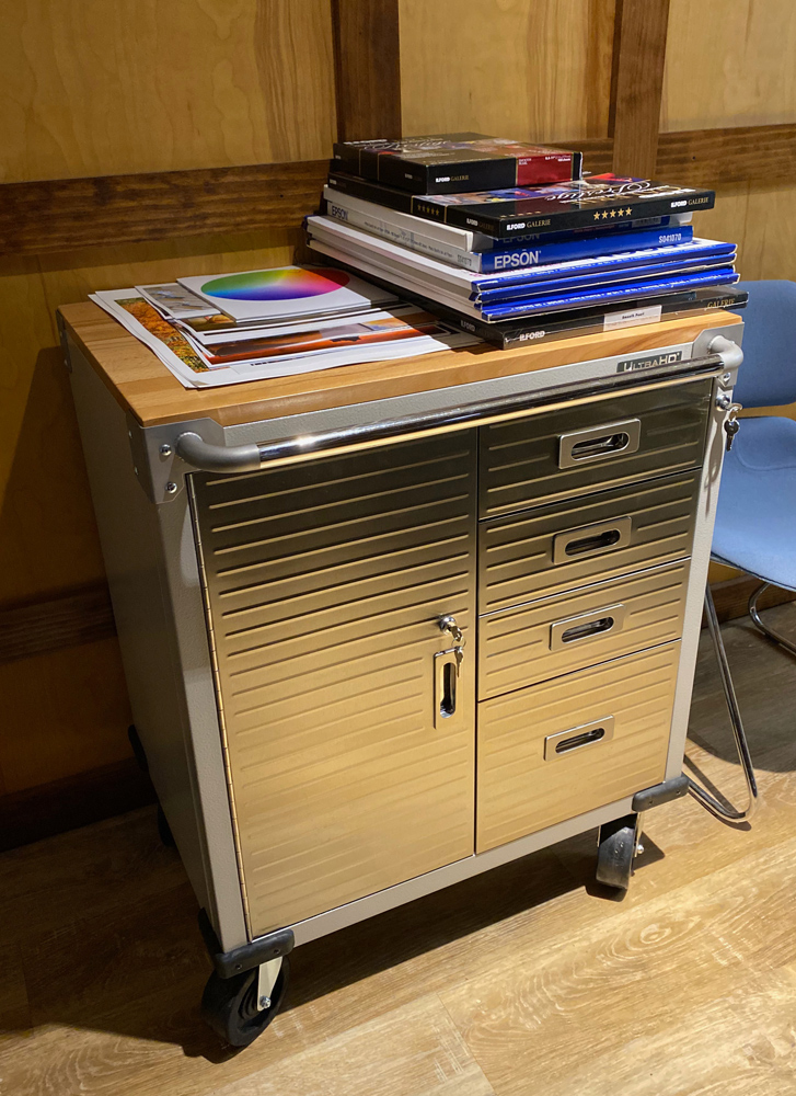 One of two rolling cabinet and drawer combinations. These hold, cables, ink, camera straps, audio gear, specialty lighting gear and other odds and ends.
