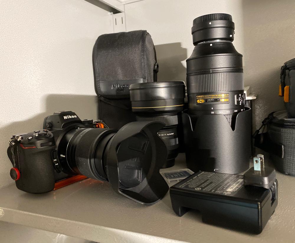 Nikon Z7 system on the shelf ready to go if needed.