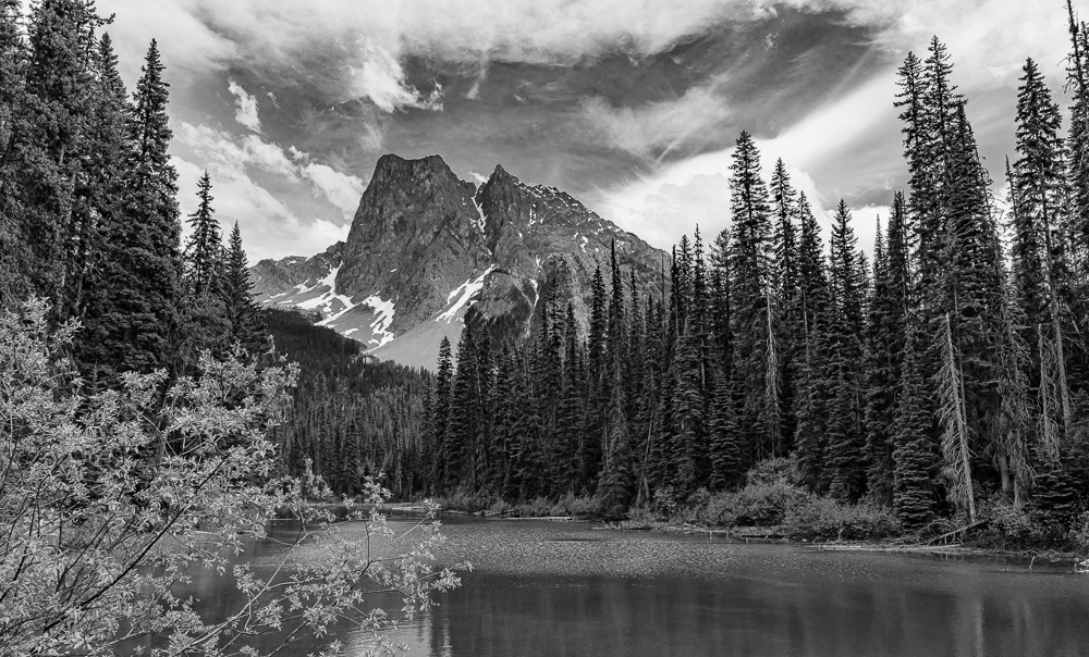 """Mt. Burgess from Emerald Lake, Yoho NP, BC"" in B&W"