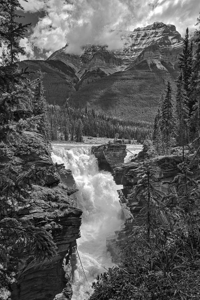 """""""Athabasca Falls, Jasper NP, Alberta"""" in B&W"""