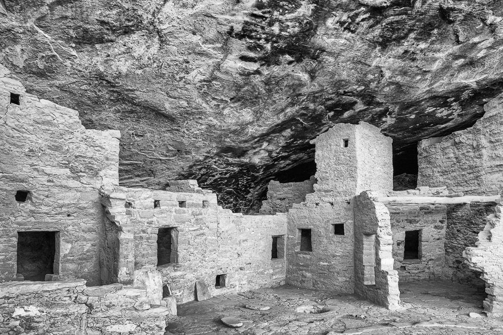 """Cliff Dwellings, Mesa Verde NP, CO"" in B&W"