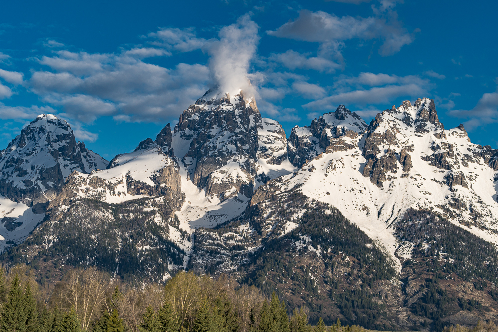 "Grand Teton Peak from Schwabacher Landing"" in color"