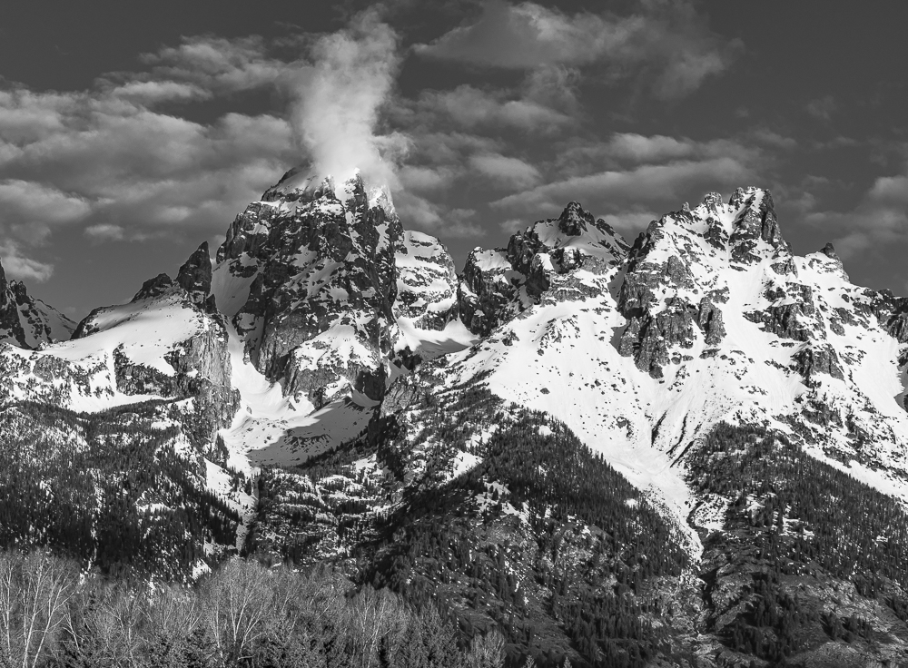 "Grand Teton Peak from Schwabacher Landing"" in B&W"