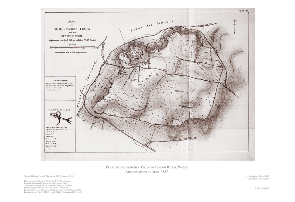 Scan of a map of Troy. Created by Jakob Ritter Wolff, 1883