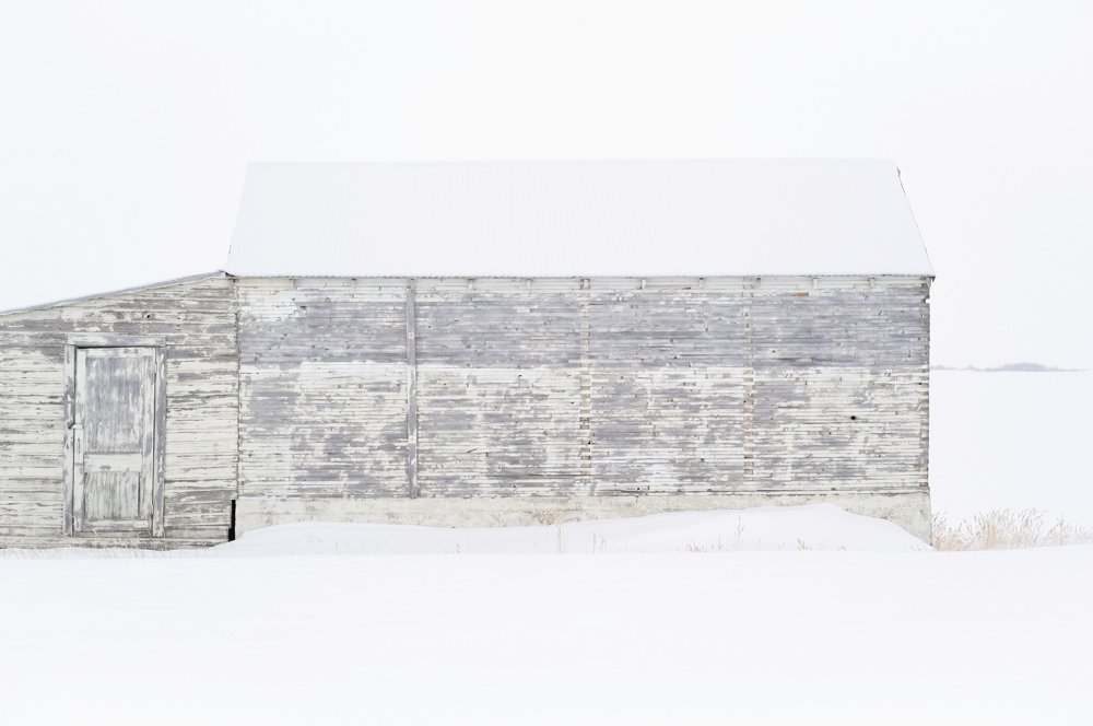 """Wendel Wirth (USA) Wood III from the series """"This is the Place""""In the winter months, the muted horizon parades elemental forms; barns and grain elevators, cow houses, cowsheds, granges as they have been called. https://www.wendelwirth.com/"""