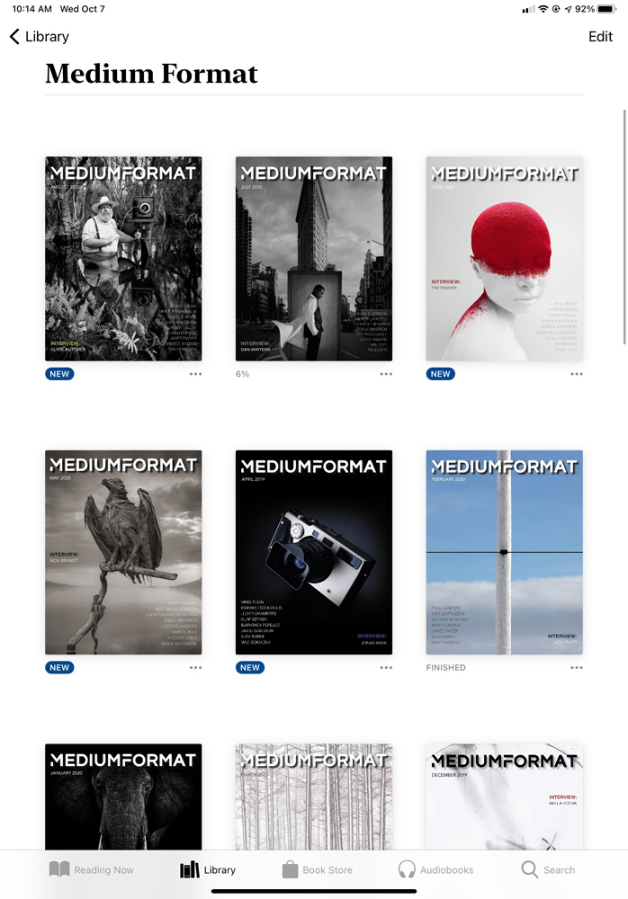Medium Format on my iPad. All editions are on my iPad