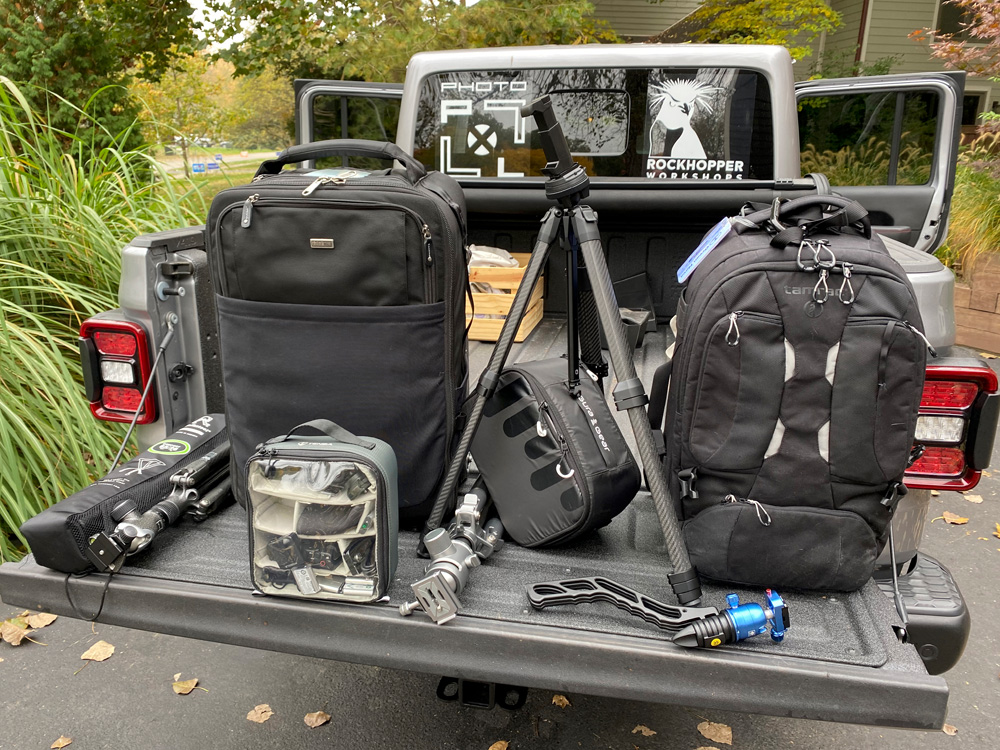 Our gear for the day. Three tripods, The Sony a7r iv and Ap with lenses in the Think Tank roller, The Tamrac bag contains Debra's Fuji XH-1 kit. The smaller case has the Sony ZH-1. The case in the middle has the wine country filer system.