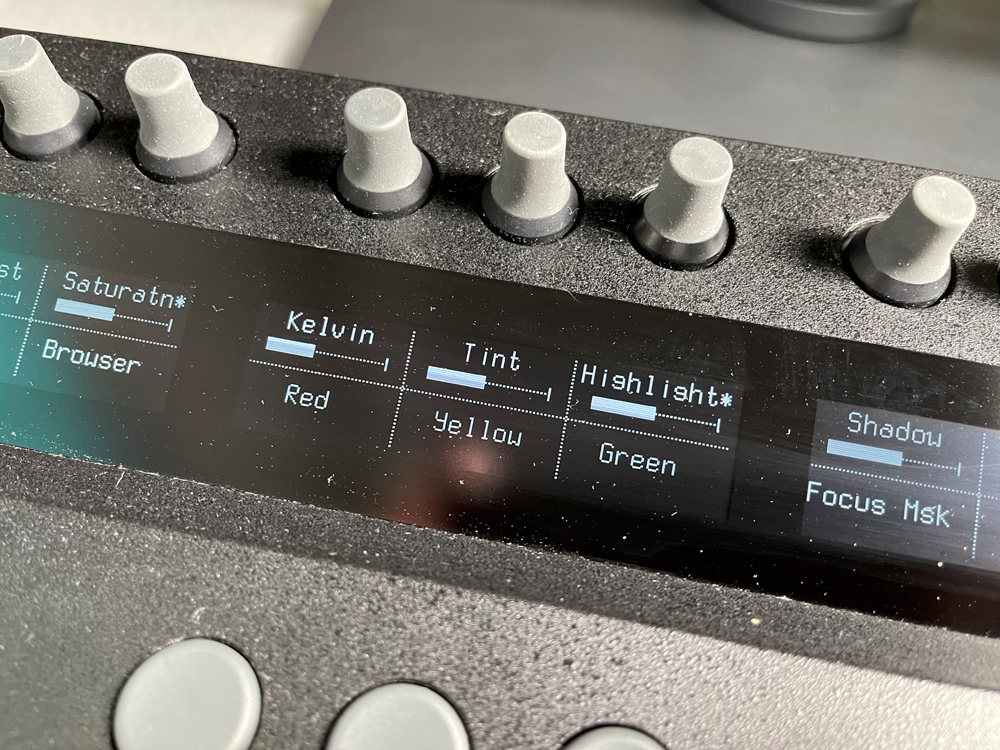 The second set of the top row of knobs and buttons> you can easily see the display readout.