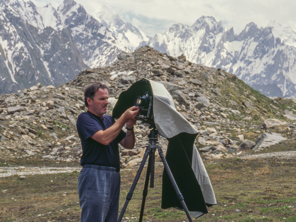 Colin Prior, Baltoro Muztagh using an Ebony camera. Photo: © Steve Piccolo 2004.