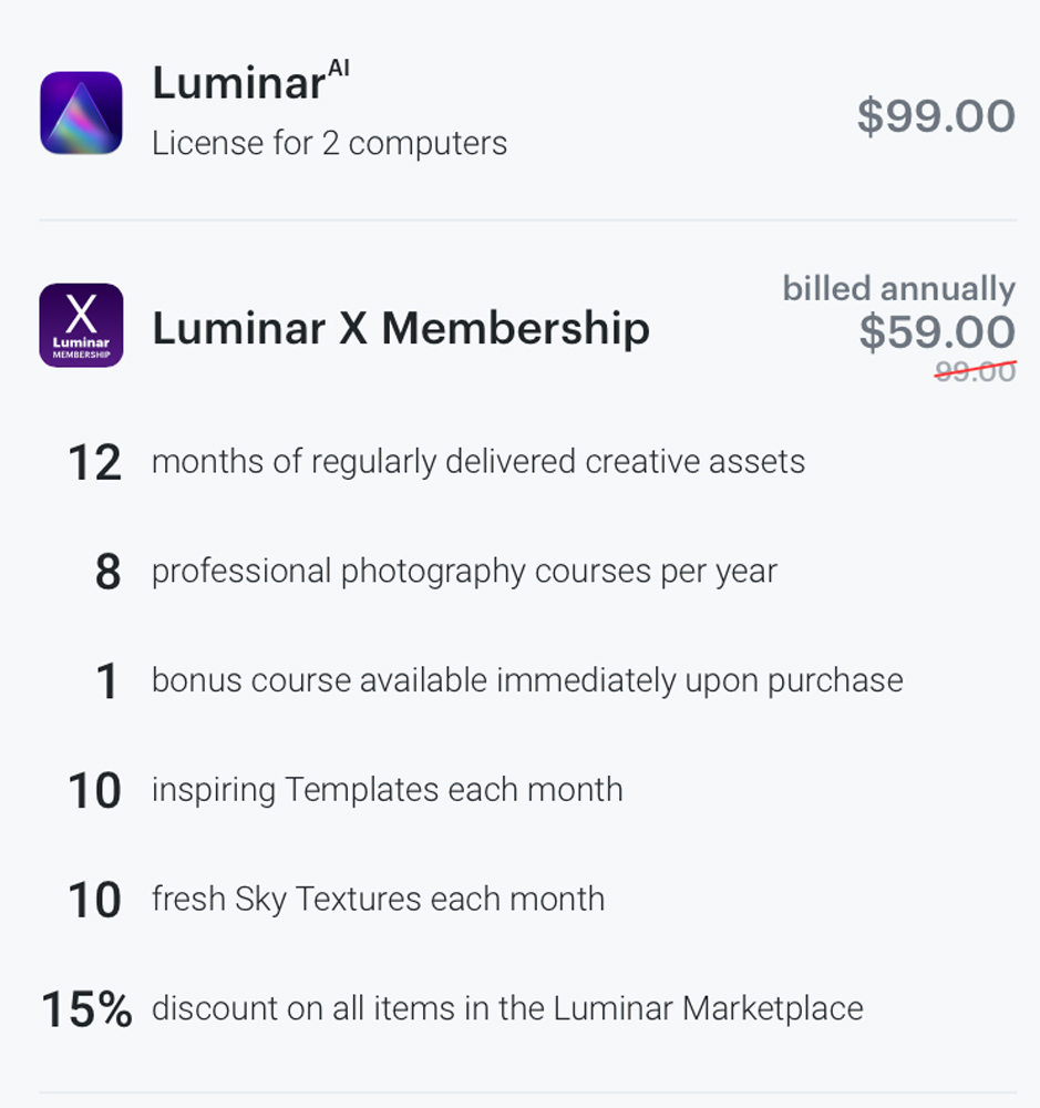 What you get with Luminar AI and Luminar X Membership