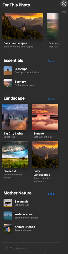 Templates for different types of images