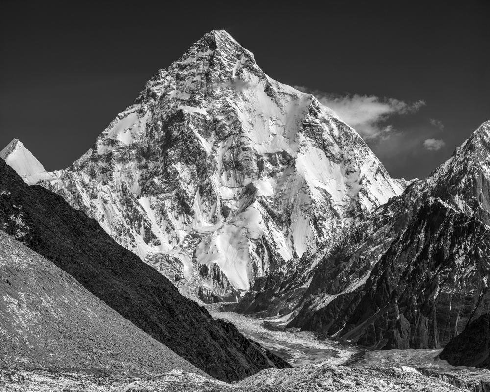 K2 (8611 m) and Godwin Austen Glacier from Vigne Glacier, Baltoro Muztagh, Karakoram Mountains, Pakistan