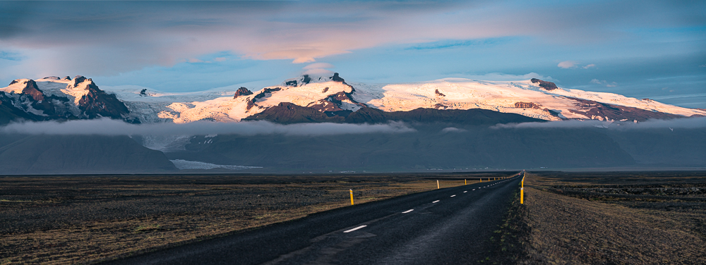 Skaftafell NP from Hwy 1, Iceland, 10pm, 2016
