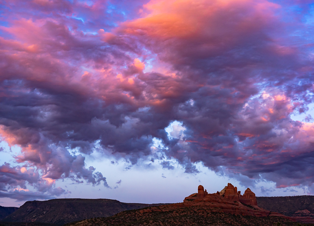 Pink and Purple Clouds Over Red Rocks