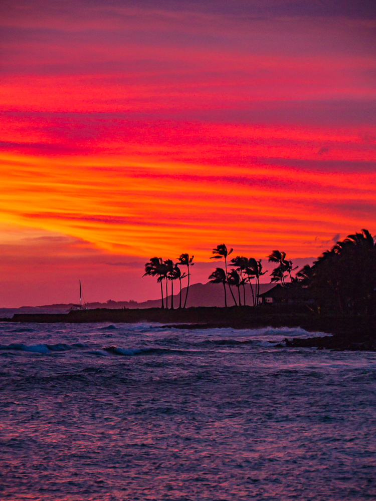 Same Kauai sunset, but vertical composition, CA