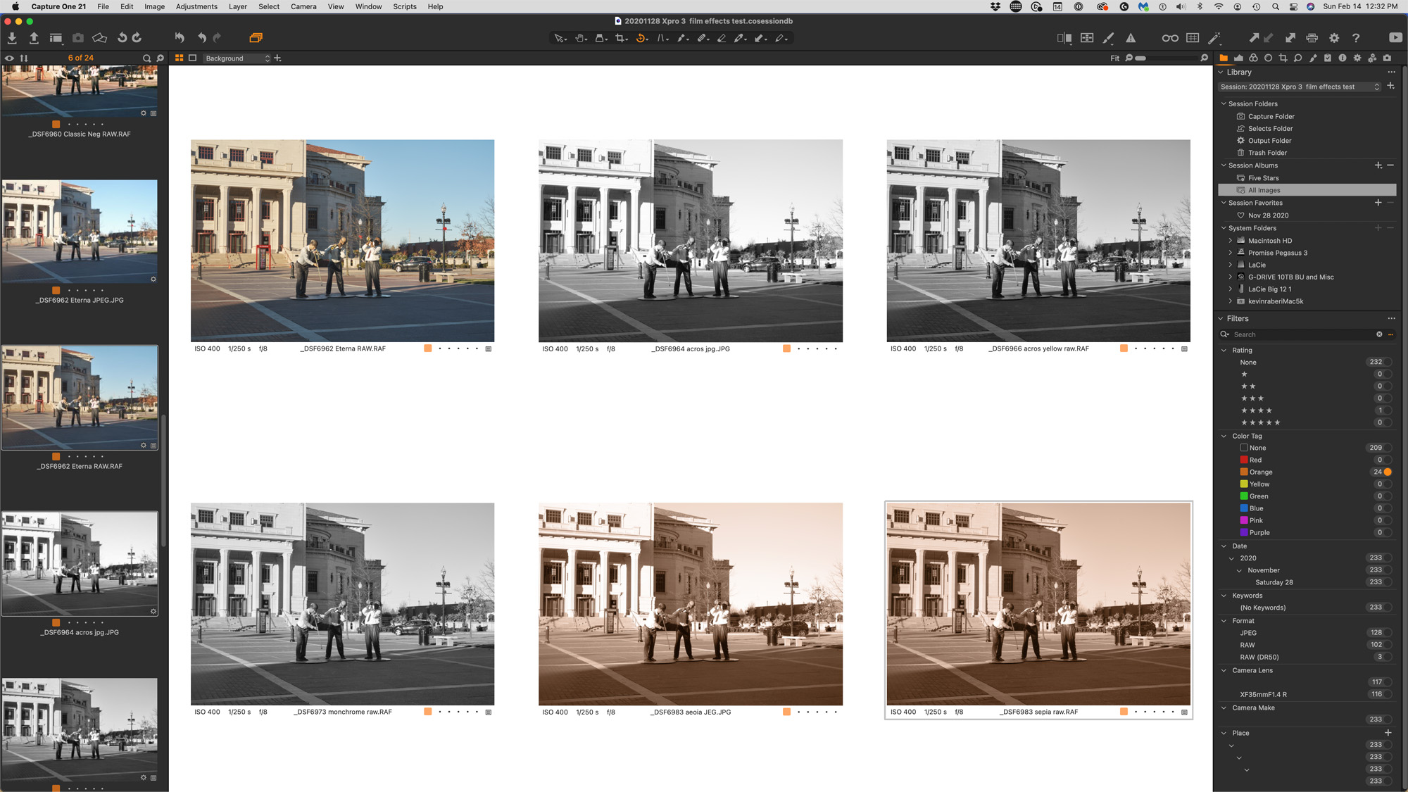Capture One with a few converted film simulations