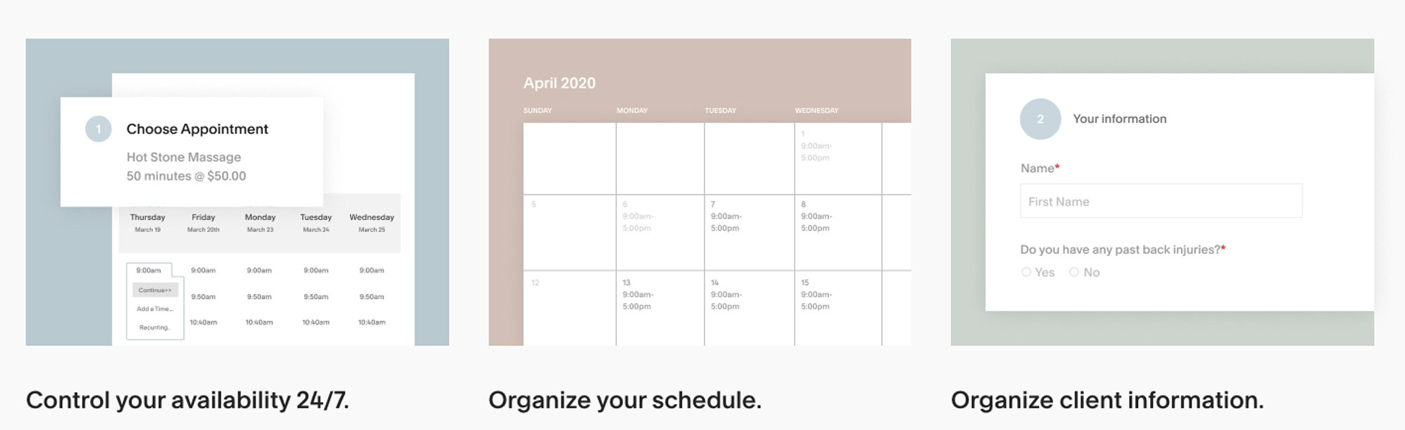 photo management tool Squarespace Scheduling