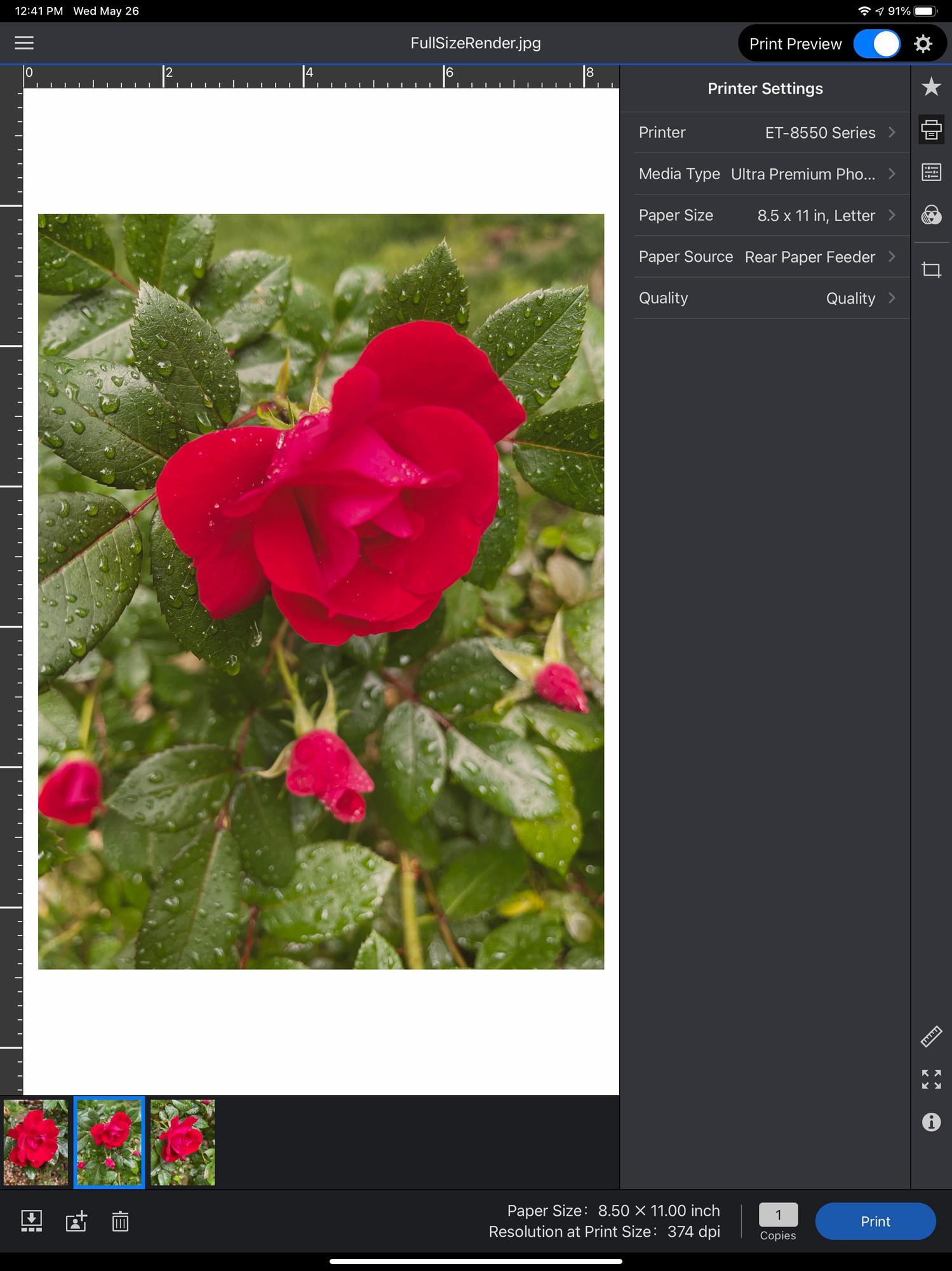 Epson Print Layout on the iPad