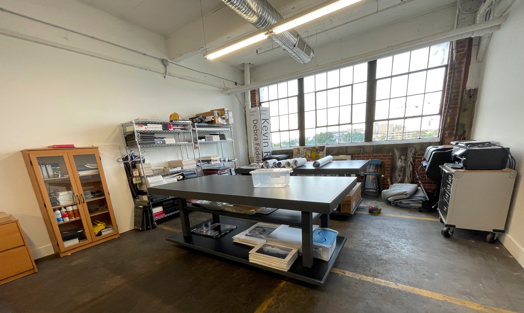 Great North Light windows. You can also see our two print inspection tables.