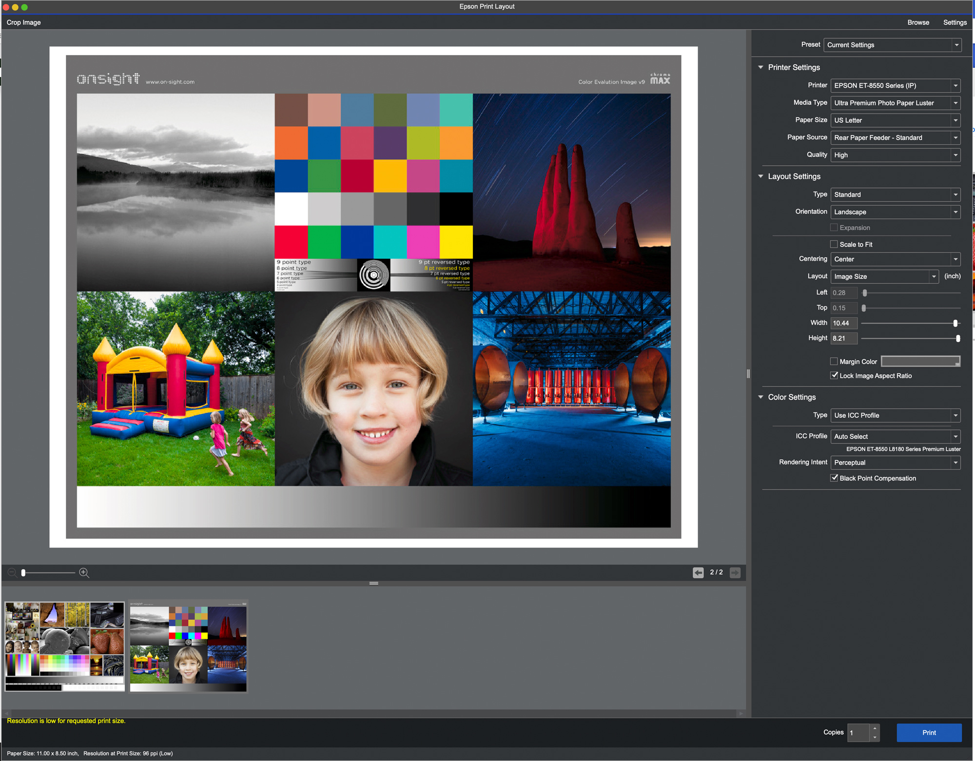 Epson Print Layout on the MAC