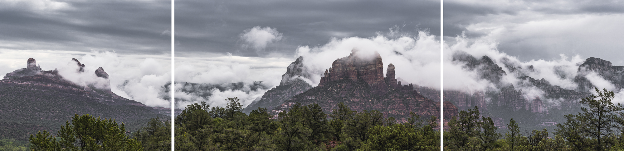 Tryptic: Monsoon Clouds Over the Mogollon Rim