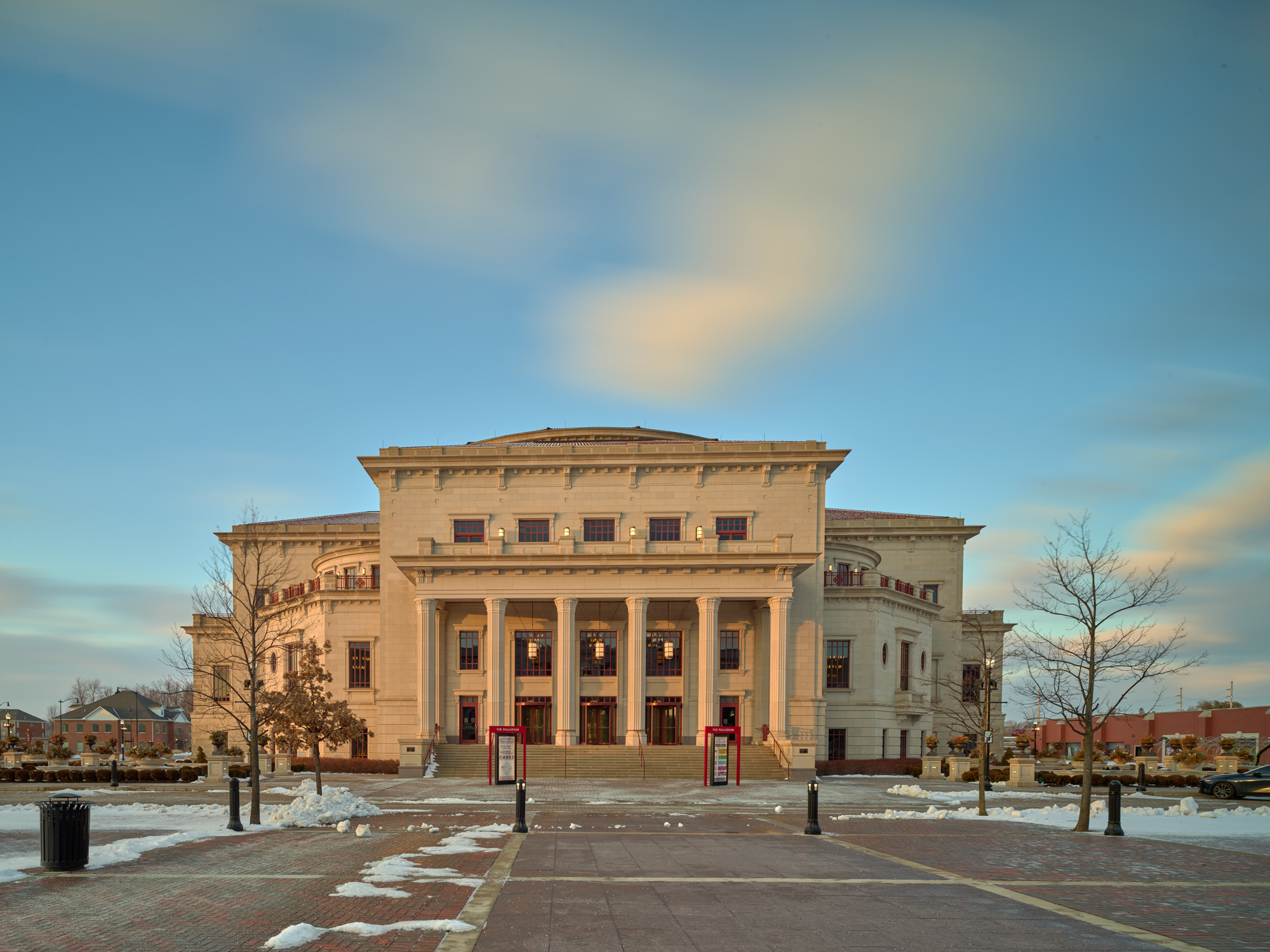 The Carmel Performing Arts Center at sunset