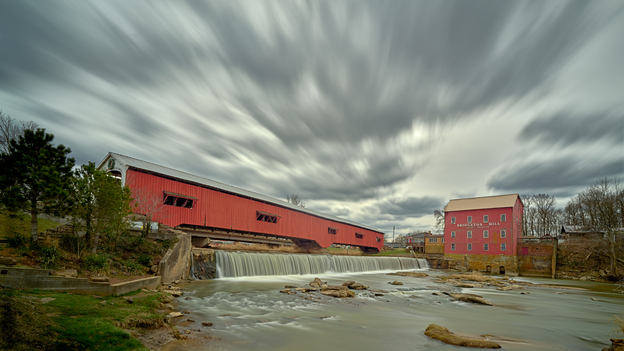 Bridgeton Covered Bridge. Made with a Phase One IQ150 and Frame Averaging