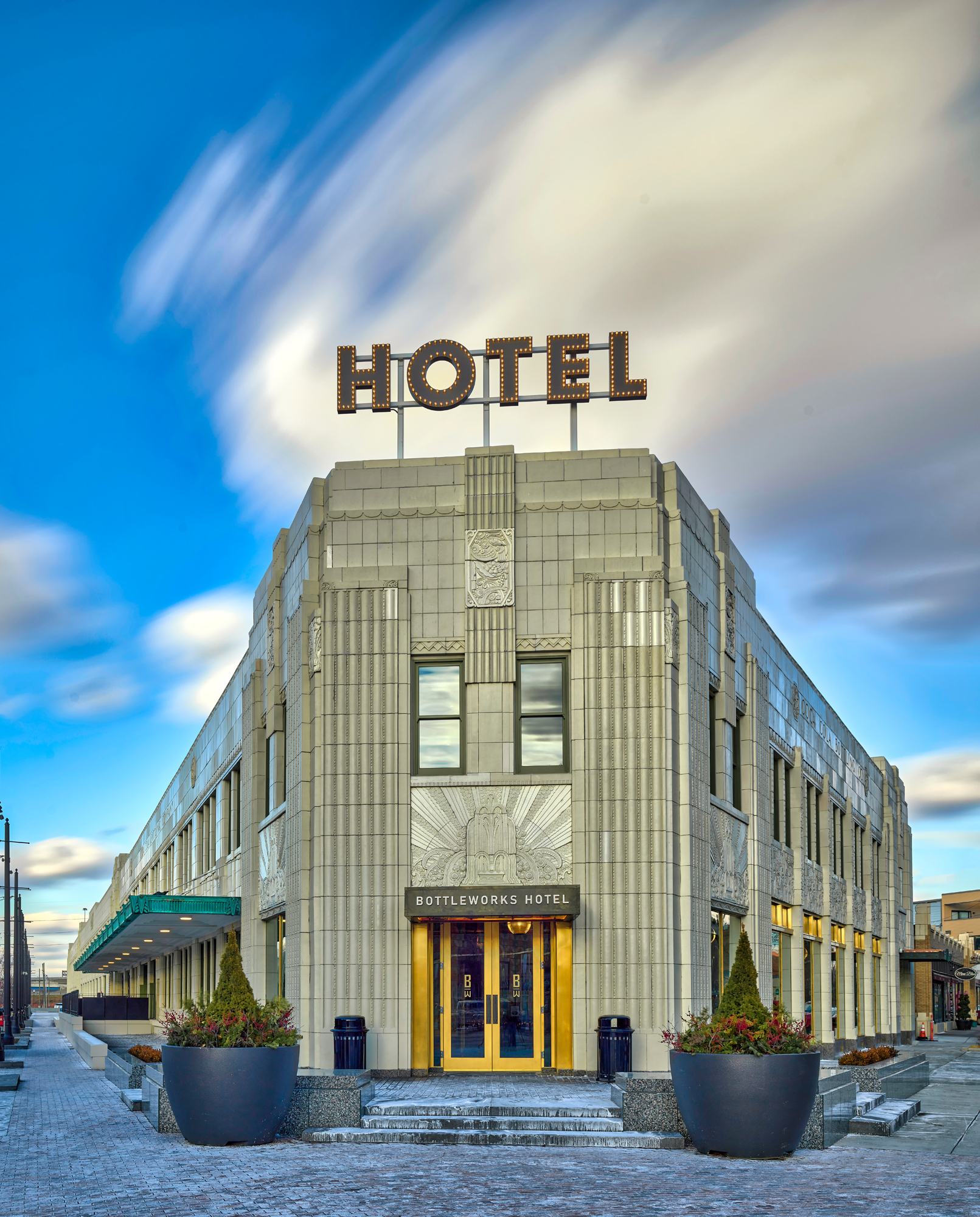 The Bottleworks Hotel shot with Frame Averaging 2 minute exposure