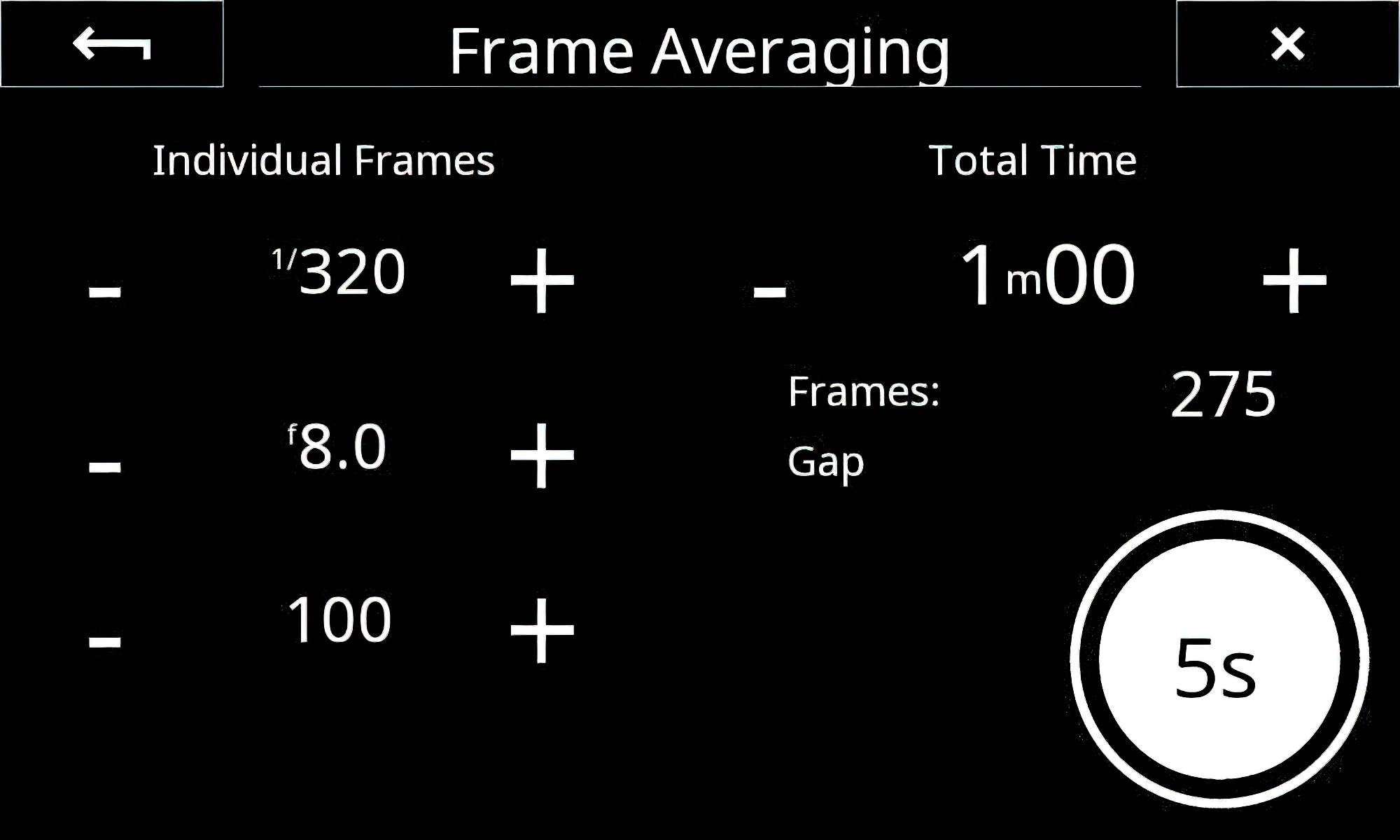 This is the setup screen for Frame Averaging. Total time 1 minute. During that one minute, 275 exposures will be made at 1/320th sec., F/8 at ISO 100.