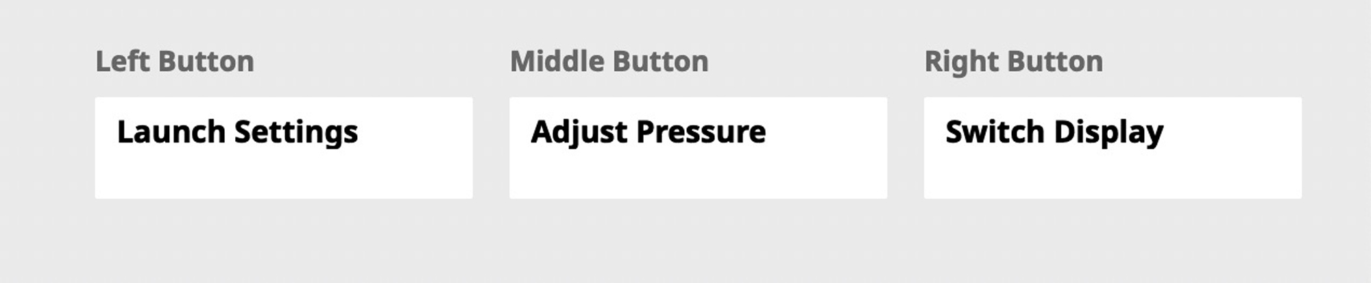 This screen sets the three buttons on the tablet up. There a number of choices for each button or you can just disable all of them