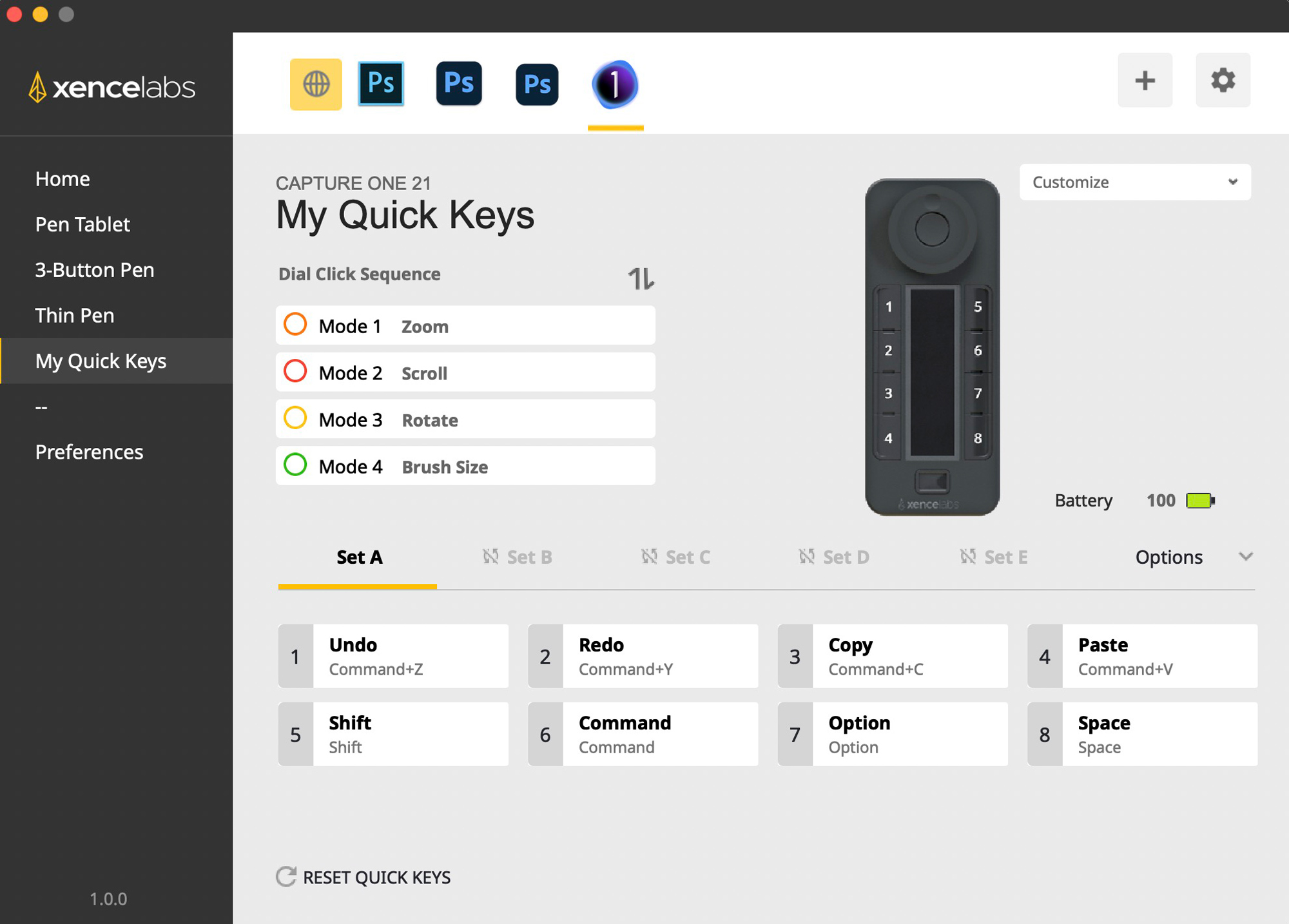 This screen sets up the remote buttons and dials. You can set it up for several different banks. It's really easy to work with and performs great