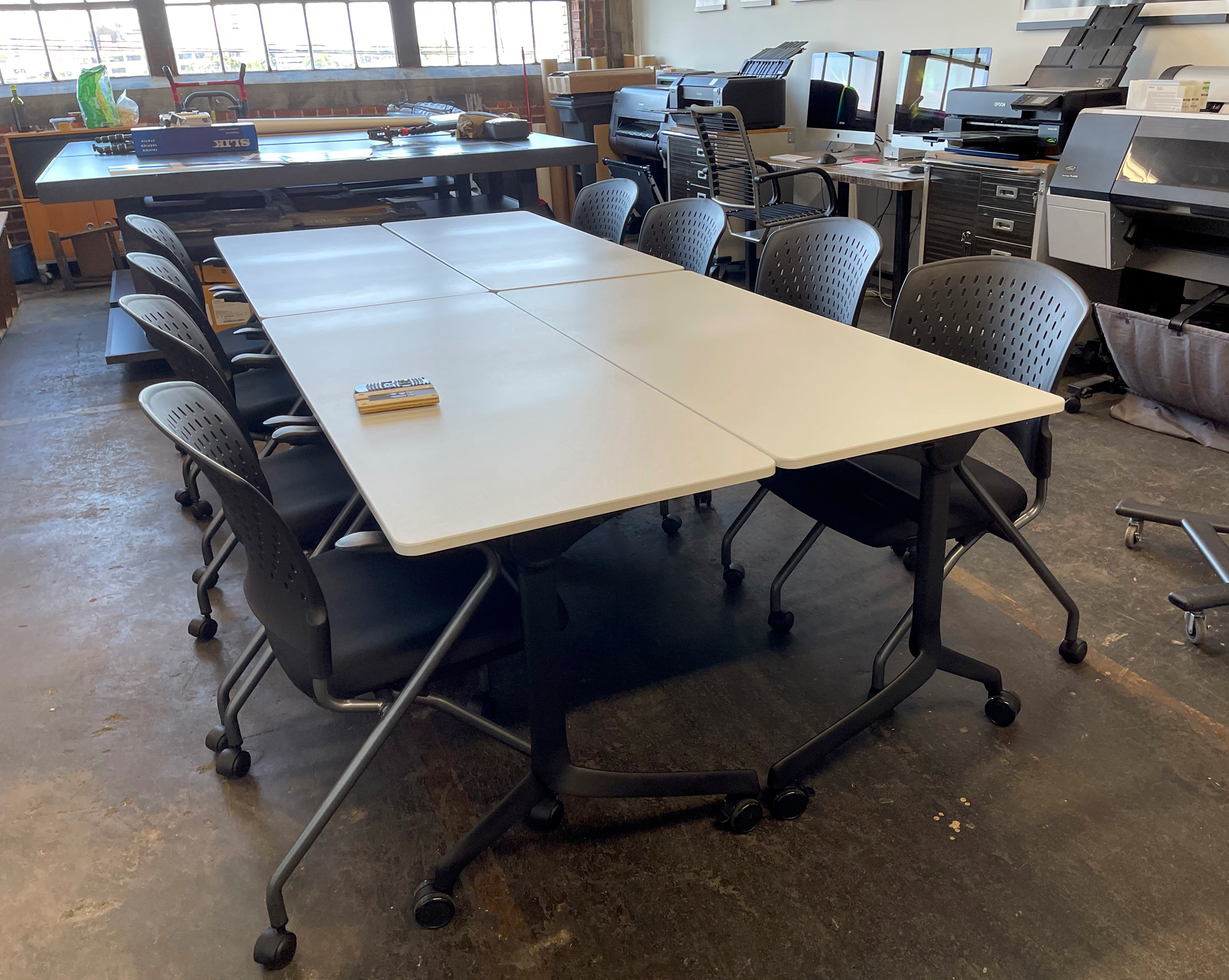 Our classroom tables can be configured a few ways