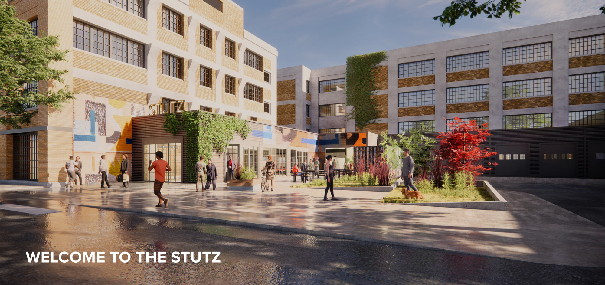 Rendering of the remodeled Stutz Building