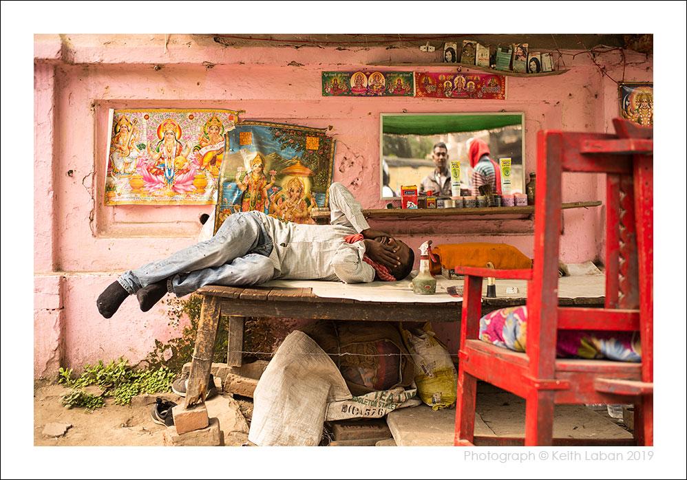 Slow day at a Varanasi Barbershop